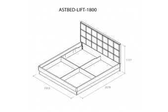 Кровать Астрид 1800 с подъемным механизмом серая
