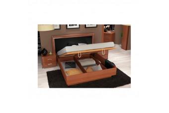 Кровать Bella с подъемным механизмом Черный Глянец/Вишня Бюзум 160х200 BL-46-BL