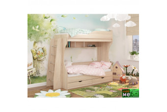 Кровать двухъярусная КД-01 (левая) Дуб Сонома Светлый Maxi Меблі