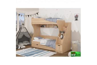 Кровать двухъярусная КД-01 (правая) Дуб Крафт Золотой Maxi Меблі