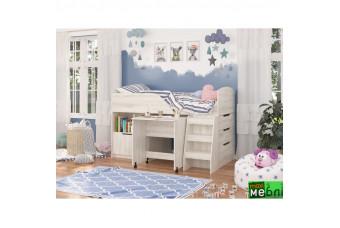 Кровать двухъярусная КД-04 (правая)  Сосна Лофт Кремовая Maxi Меблі