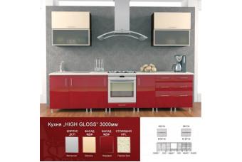 Кухня High Gloss Прямая Красная