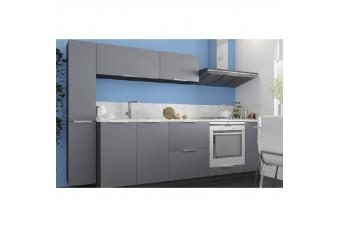 Кухня High Gloss Прямая МДФ крашеный серый