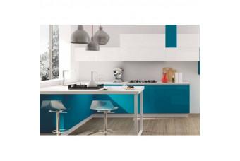 Кухня High Gloss Угловая МДФ крашеный бирюза