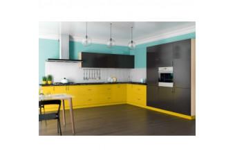 Кухня High Gloss Угловая МДФ крашеный желто-бирюзовый