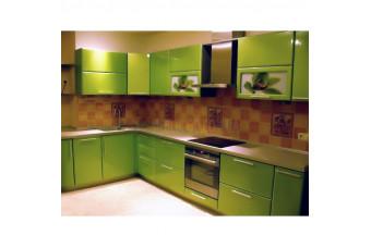 Кухня High Gloss Угловая МДФ крашеный зеленый