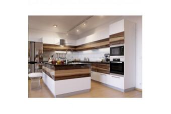 Кухня High Gloss Угловая остров МДФ крашеный