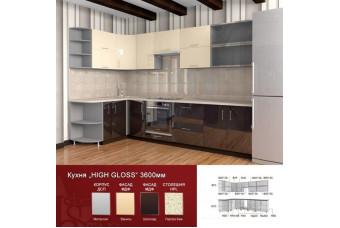 Кухня High Gloss Угловая Шоколад и бежевая