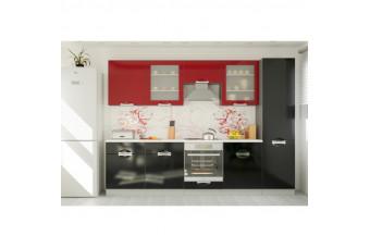 Кухня Karmen Прямая Красная и Черная Hight Gloss