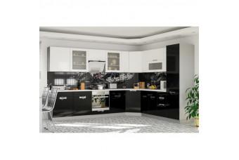Кухня Karmen Угловая Черно-белая Hight Gloss
