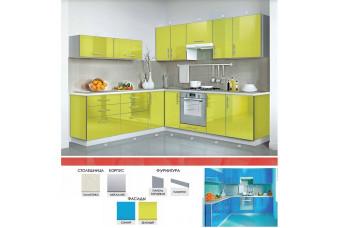 Кухня Mirror Gloss Угловая Зеленая