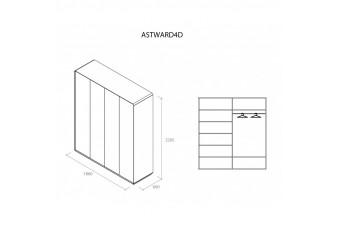 Шкаф Астрид 4-х дверный серый