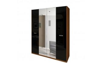 Шкаф Bella 4Д с зеркалами вишня бюзум/черный глянец BL-14-BL