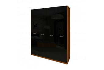 Шкаф Bella 4Д вишня бюзум/черный глянец (без зеркал) BL-24-BL