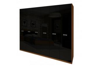 Шкаф Bella 6Д вишня бюзум/черный глянец (без зеркал) BL-26-BL